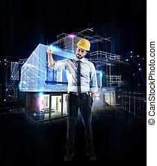 建筑师, 商人, 图, 一张草图, 在中, a, 现代, 家