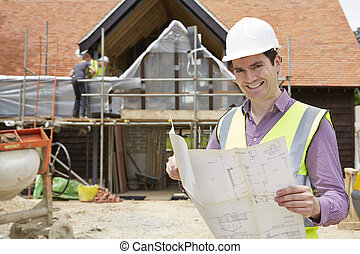 建筑师, 在上, 工地, 看, 房子, 计划