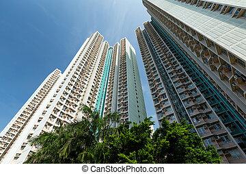 建筑物, 公寓, 角度, 低