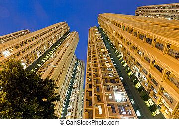 建筑物, 公寓, 角度, 低, 察看