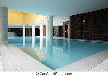 建筑物, 内部, 游泳, 池