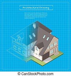 建筑物, 城市, 等容线, 描述, 矢量, 3d, blueprint.