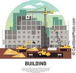 建筑物, 套间, 建设机械, 作品