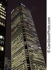 建筑物, 射击, 阐明, 办公室, 低, 夜晚, 角度
