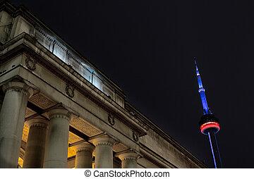 建筑物, 射击, cn, 支柱, 低, 背景, 角度, 塔