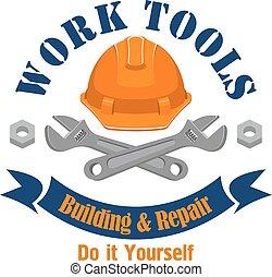 建筑物, 工作, 签署, 矢量, emblem., 工具, 修理