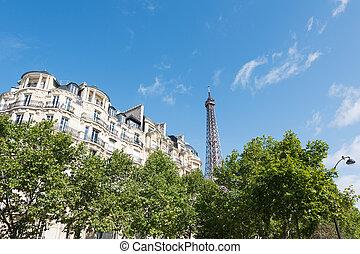 建筑物, 巴黎人, 巴黎, eiffel, -, 塔