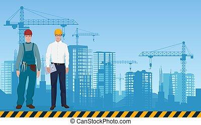 建筑物, 建设, 职业, 建设者, 工人, 背景。, 经理, 建设, 建筑师, concept., 人