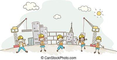 建筑物, 建设, stickman, 描述, 孩子