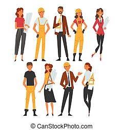 建筑物, 性格, 放置, 工人, 建筑师, 矢量, 描述, 女性的专业人员, 建设, 男性