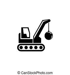 建筑物, 机器, 球, 失事, 套间, 矢量, 起重机, 爆破, 图标