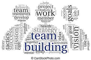 建筑物, 概念, 词汇, 标记, 队, 云