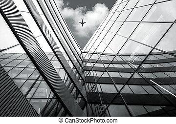 建筑物, 现代, 角度, 结束, 飞行, 建筑学, 飞机, 察看, 低