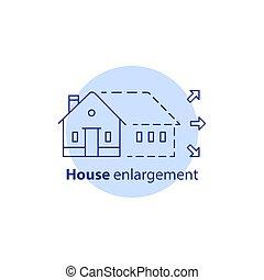 建筑物, 真正, 增加, 扩展, 概念, 房子, 重建, 革新, 扩大, 服务, 财产, 家, 选择