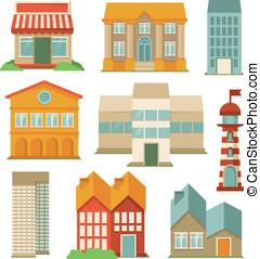 建筑物, 矢量, 集合, 圖象