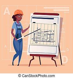 建筑物, 蓝图, 妇女, 建设者, 钢盔, 穿, 解释, 工人, 承包商, 美国人, 建设, 计划, african, 制服, 卡通漫画