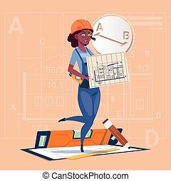 建筑物, 蓝图, 妇女, 握住, 钢盔, 穿, 建设者, 工人, 制服, 混合, 比赛, 计划, 建设, 承包商, 卡通漫画