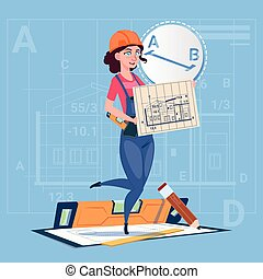 建筑物, 蓝图, 妇女, 钢盔, 穿, 建设者, 工人, 制服, 建设, 计划, 握住, 承包商, 卡通漫画