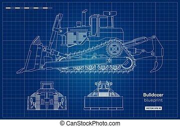 建筑物, 蓝图, 推土机, 工业, outline, digger., 边, 柴油机, 隔离, 背示图, 机械, 车辆, dozer., 图, 前面, style., image.