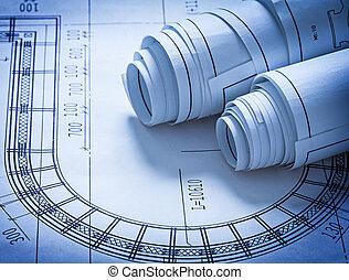 建筑物, 蓝图, 概念, 卷, 建设