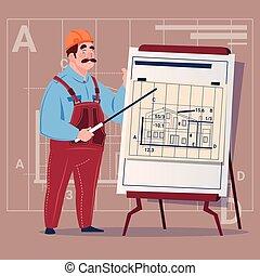 建筑物, 蓝图, 钢盔, 穿, 工人, 工人, 制服, 卡通漫画, 解释, 建设, 计划, 承包商, 男性, 建设者