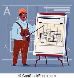 建筑物, 蓝图, 钢盔, 穿, 工人, 工人, 制服, 卡通漫画, 解释, 美国人, 建设, 计划, african, 承包商, 男性, 建设者