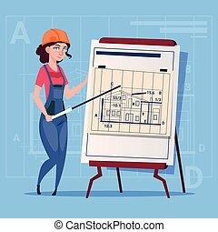 建筑物, 蓝图, 钢盔, 穿, 建设者, 工人, 承包商, 解释, 建设, 计划, 女性, 制服, 卡通漫画