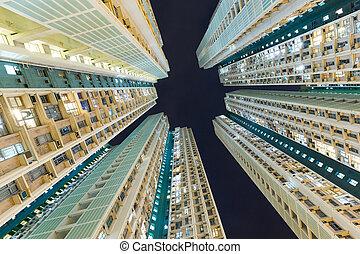 建筑物, 角度, 摩天楼, 低