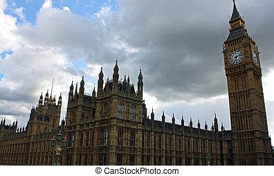 建筑物, 议会, ben, 大, england., 伦敦, 察看