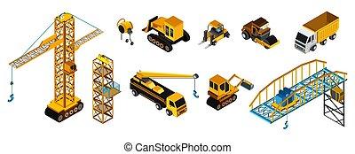 建筑物, 风格, 矢量, 描述, 放置, 车辆, 机器, 等容线, 隔离