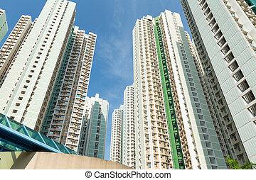 建筑物, 高, 角度, 低