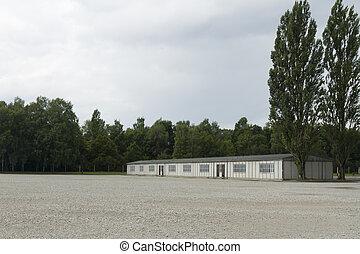 建筑物, camp., concen, 兵营, dachau, today., 集中