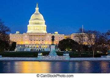 建筑物, capitol, 我们, 黄昏