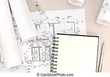 建築である, テクニカル, 仕事, 図画, 背景, 道具