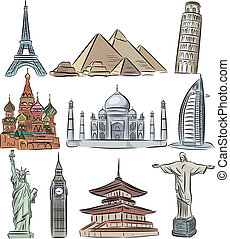 建築である, 驚くべきもの, の, 世界, ベクトル, コレクション