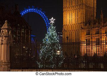 建築の細部, の, 国会議事堂, 中に, ロンドン, イギリス\, ∥で∥, クリスマスツリー, 中に, 前景, そして, ロンドン目, 中に, 背景