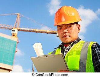 建築作業員, そして, クレーン