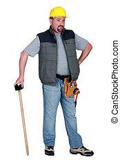 建築作業員, ∥で∥, a, sledgehammer