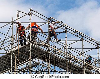 建築作業員, 上に, a, 足場