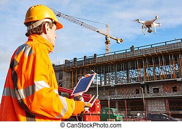 建築作業員, 建物サイト, 無人機, 作動させる