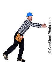 建築作業員, 引く, 何か