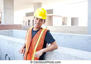 建築作業員, 若い, アジア人