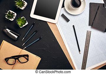 建築家, 上, 仕事, バックグラウンド。, 黒, 道具, 光景