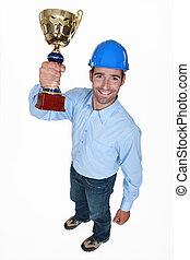 ∥, 建築家, 保有物, a, trophy.