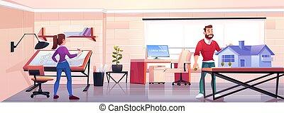 建築家, 労働者のオフィス, プロジェクト, 建物