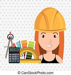建築家, 女, 道具, アイコン