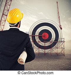 建築家, 建造する, a, ビジネス, ターゲット, ., 入り混ざったメディア