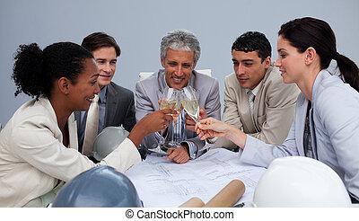 建築家, 成功, グループ, シャンペン, 祝う