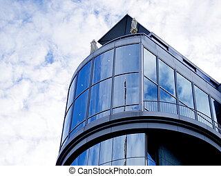 建築家, 曲がった, ファサド, 現代, 壁, ガラス