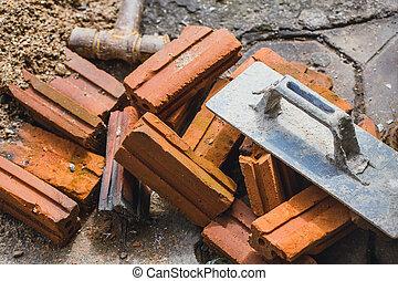 建築工事, の, 特性, concept., 労働者, 道具, ∥で∥, れんが, 中に, 汚い, workplace.